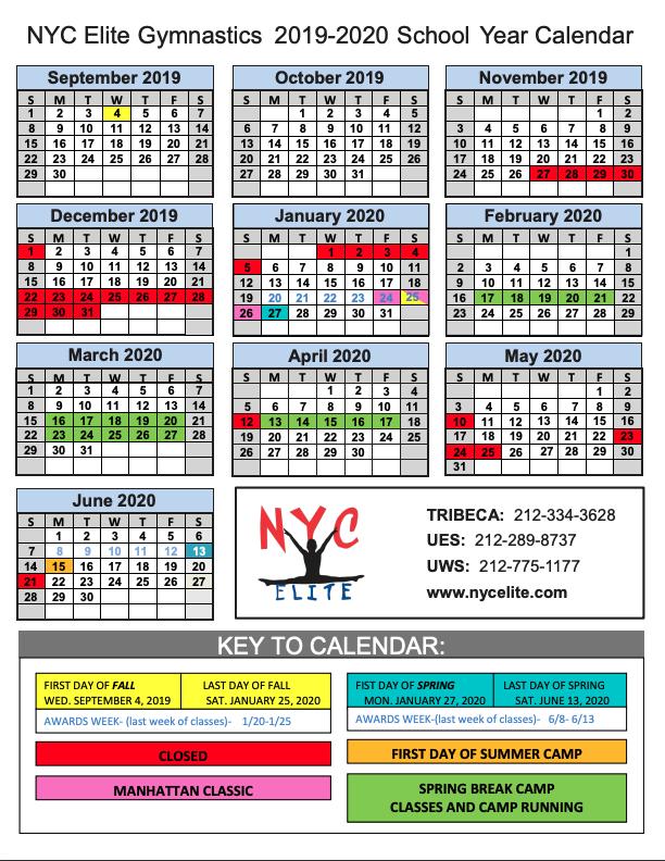 school calendar 2019